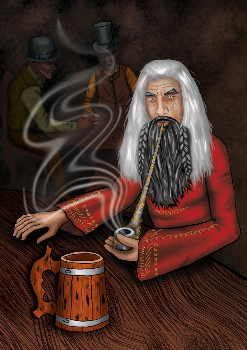 Digitální ilustrace do knihy Čaroděj v krčmě