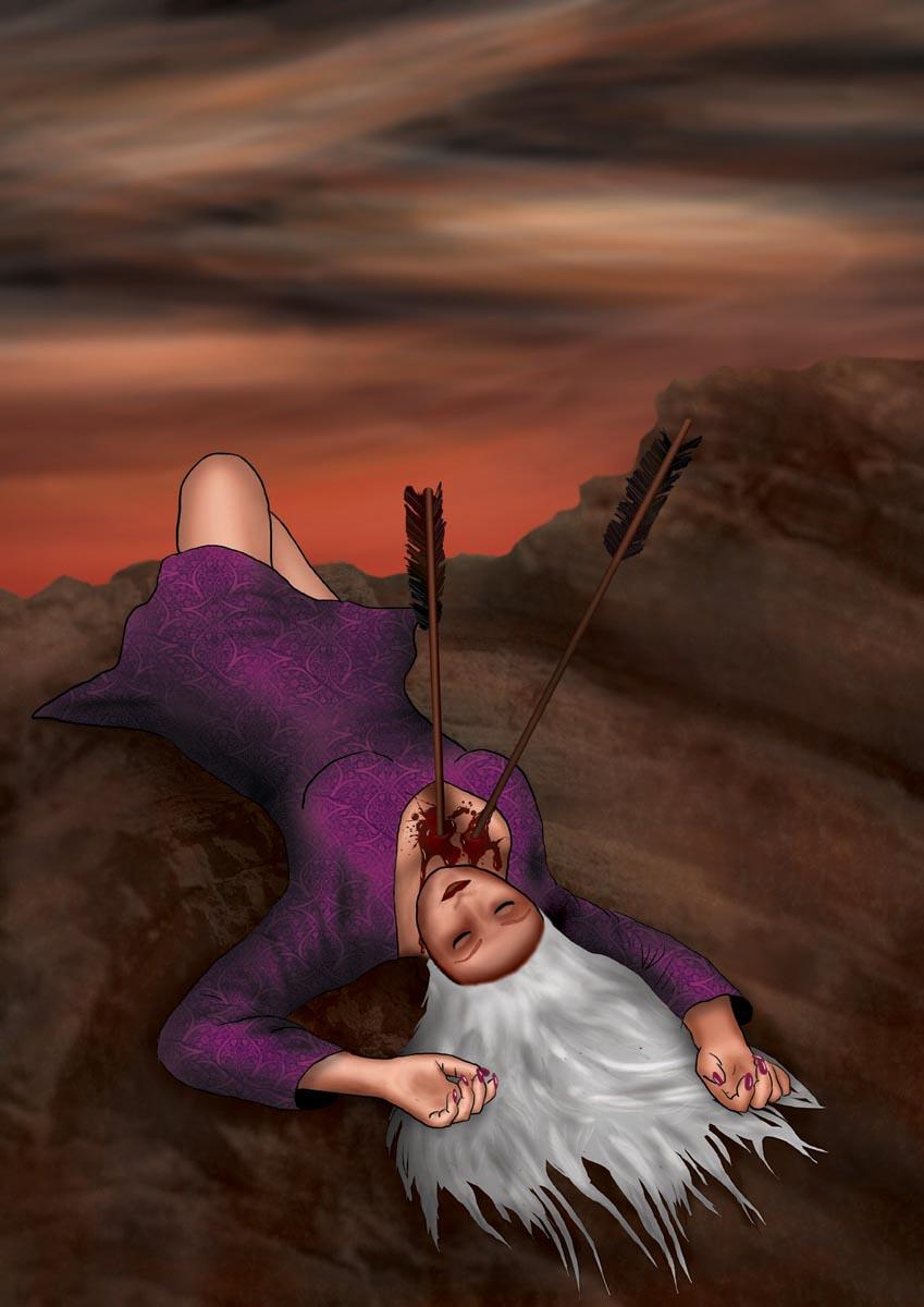 Digitální ilustrace - Bezvládná čarodějka se šípy v hrudi