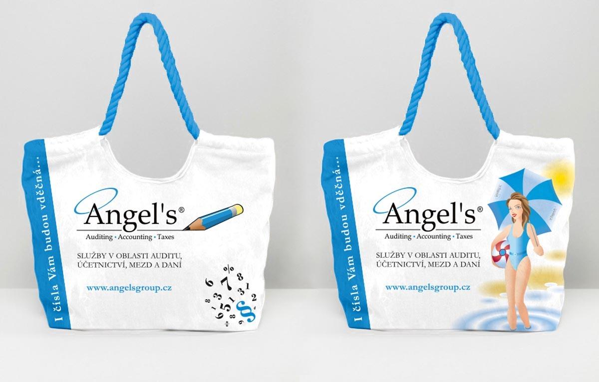 Návrh designu a vizualizace plážové tašky pro klienty Angels Group