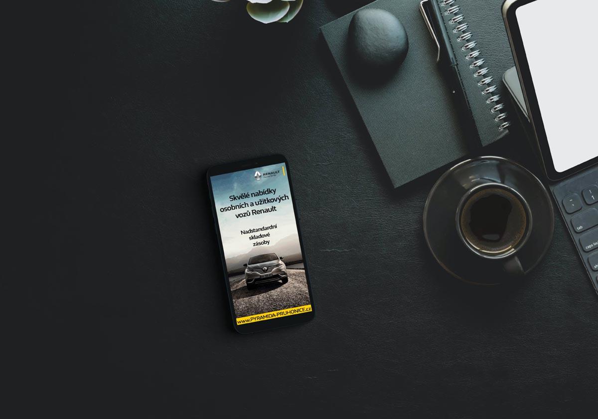 Návrh online banneru Renault Pyramida Průhonice