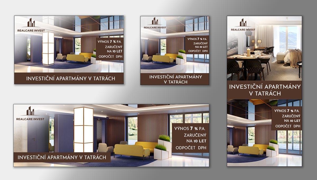 Návrh online banneru Investiční apartmány v Tatrách Bešeňová RealCare Invest