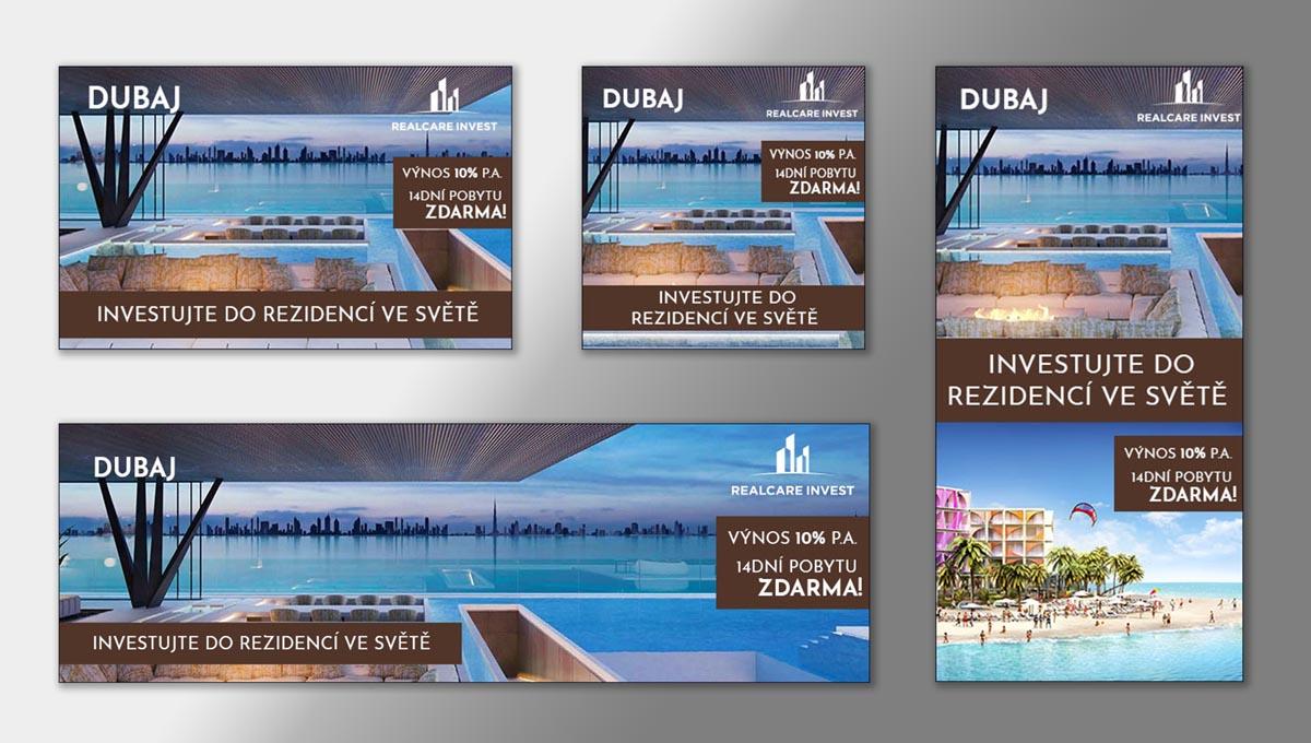 Návrh online bannerů Investiční rezidence v Dubaji RealCare Invest