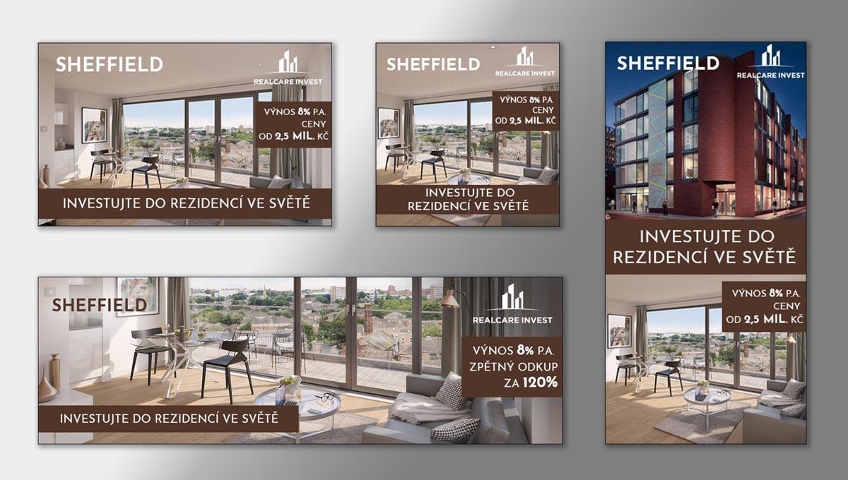 Návrh online bannerů Investiční byt Sheffield RealCare Invest