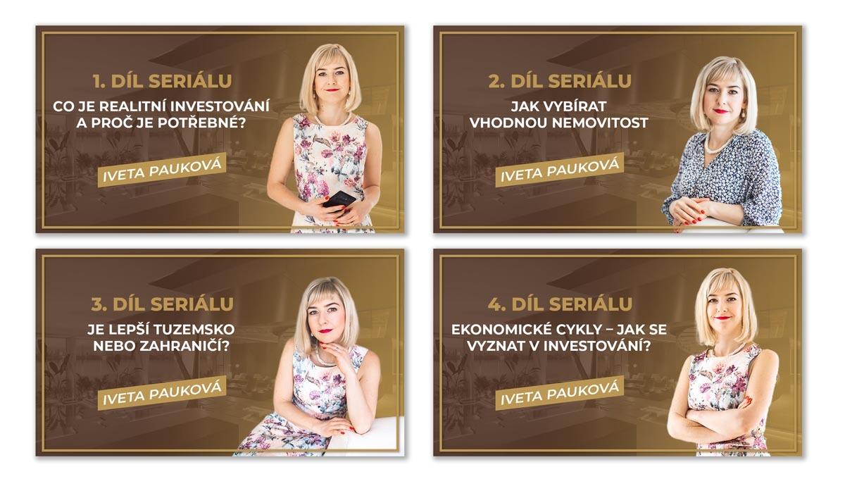 Návrh online banneru k seriálu o investování do nemovitostí Iveta Pauková