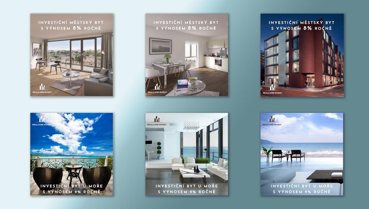 Návrh online bannerů Investiční byt po světě RealCare Invest