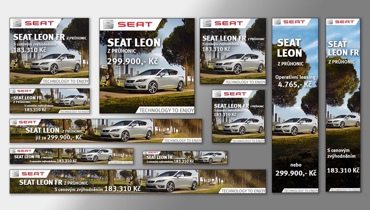 Návrh online banneru SEAT Leon FR - responzivní bannery