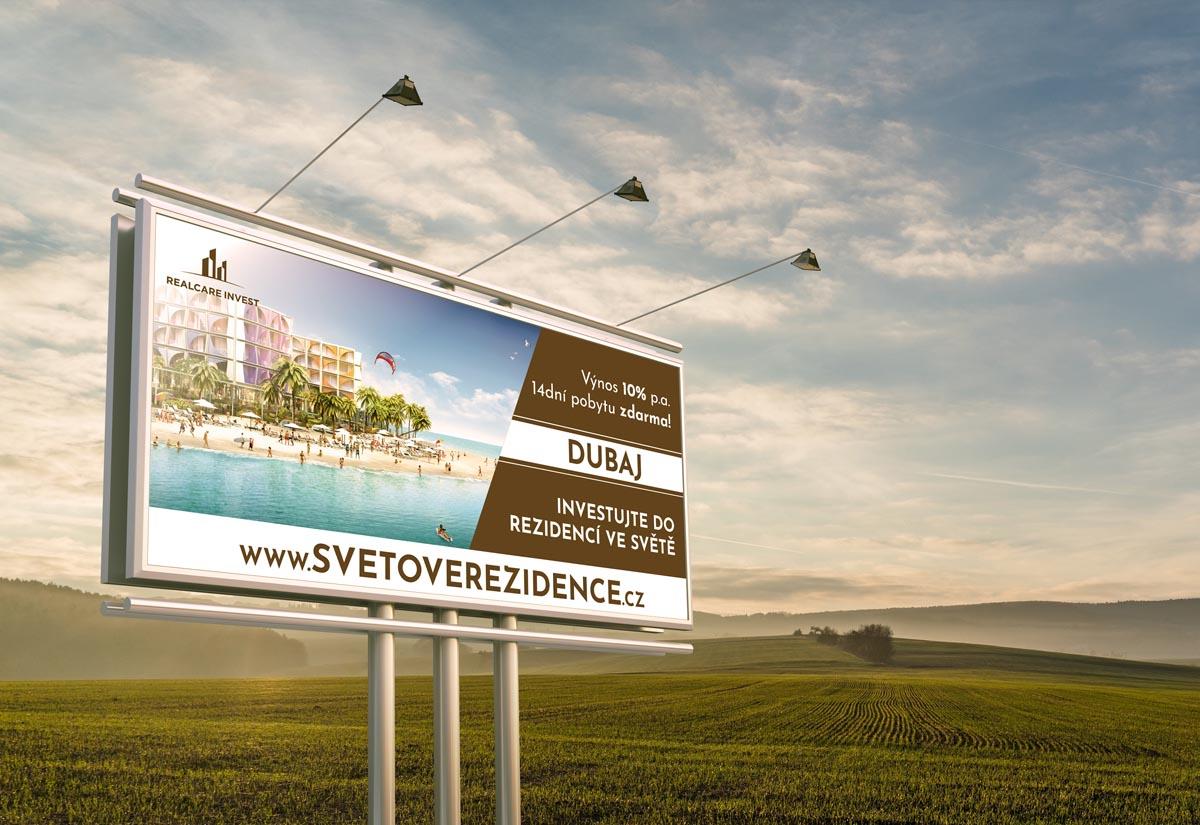 Grafický design billboardu Světové rezidence - Dubaj