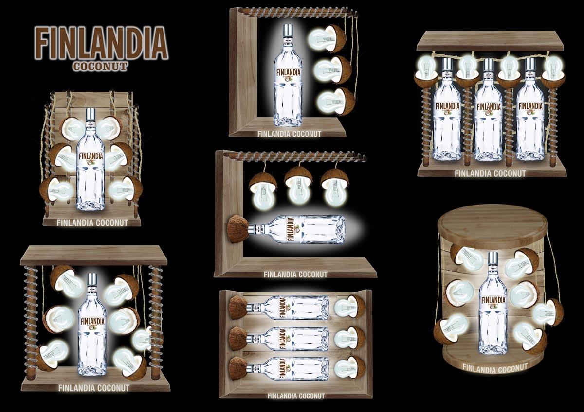 Návrh a vizualizace stojanu na lahve Finlandia Coconut
