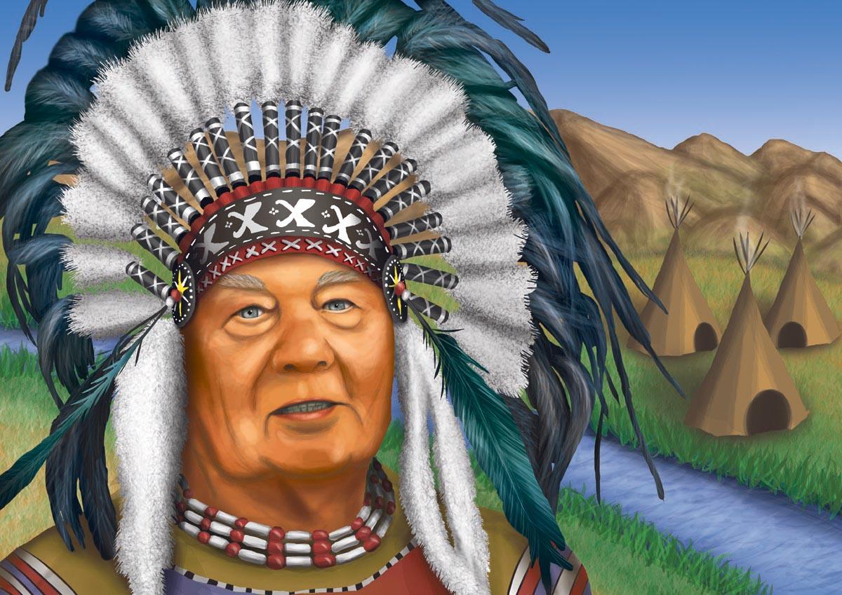 Digitální ilustrace - děda jako indián