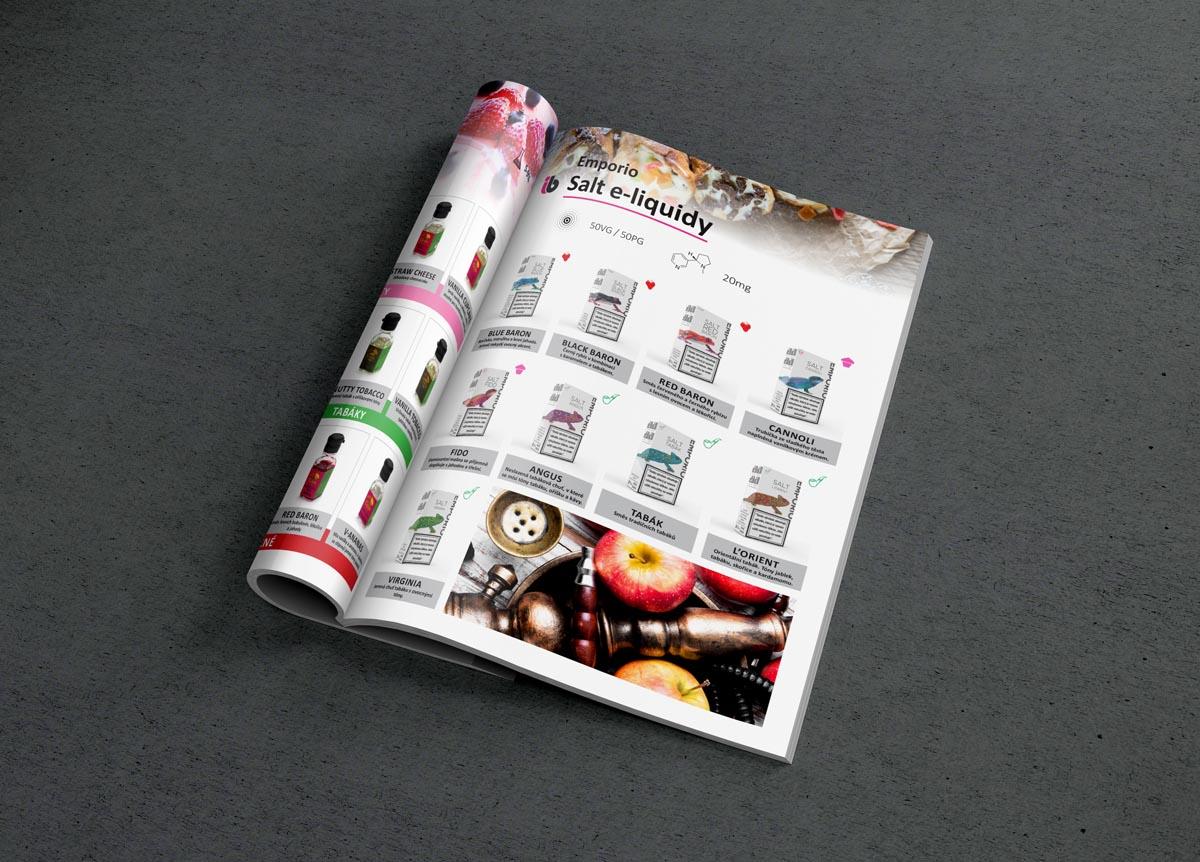 Grafický design a sazba katalogu Imperia BIOS - salt e-liquidy