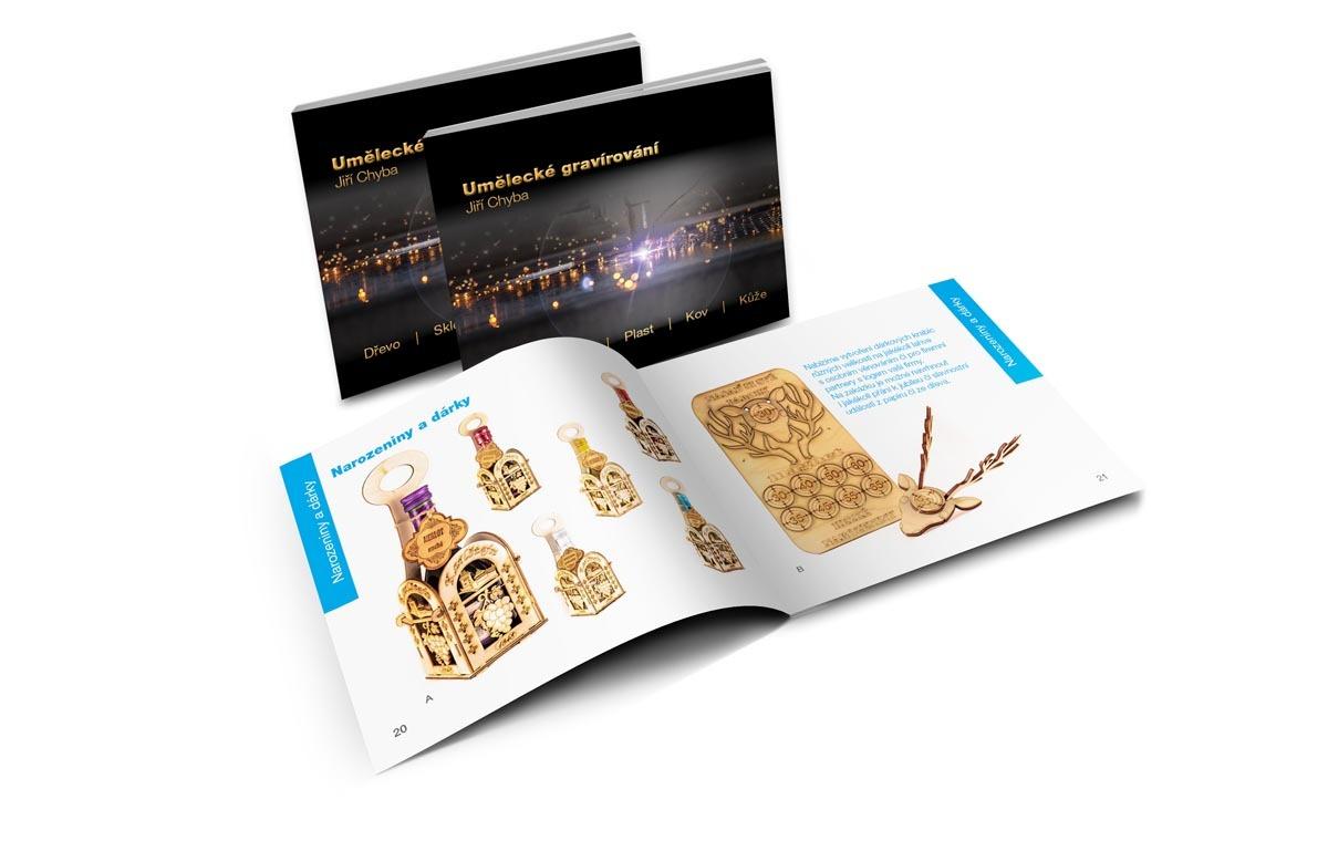 Návrh katalogu uměleckého gravírování Karlštejn - dvojstrana narozeniny a dárky