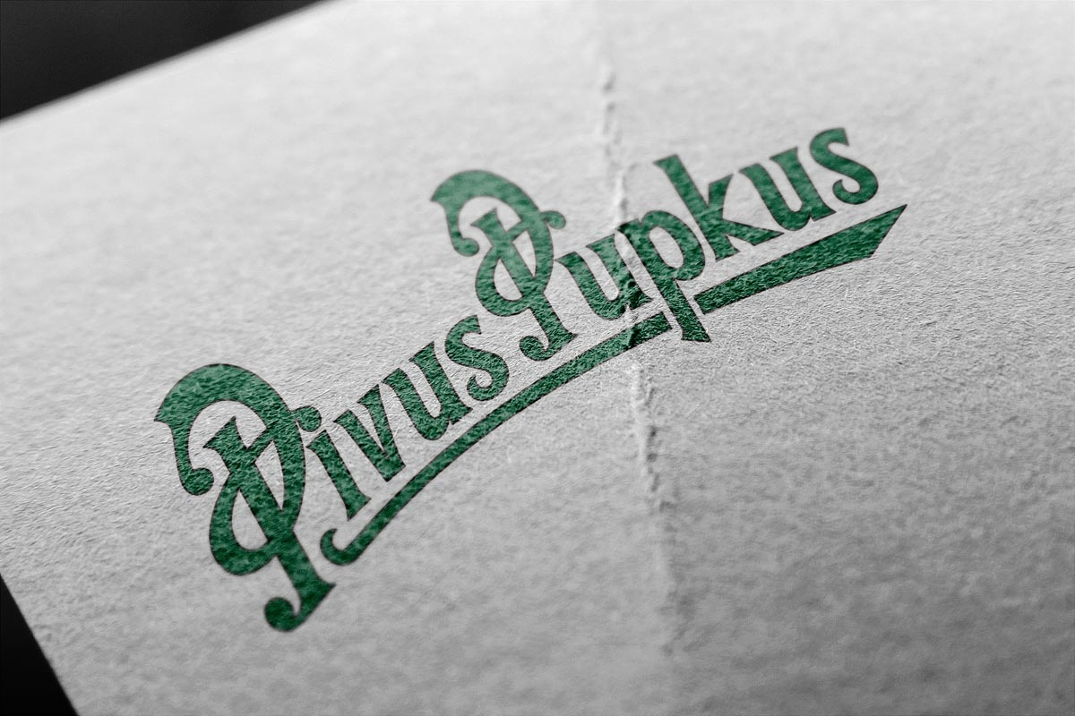 Grafický design loga ve stylu Pilsner Urquell Pivus Pupkus
