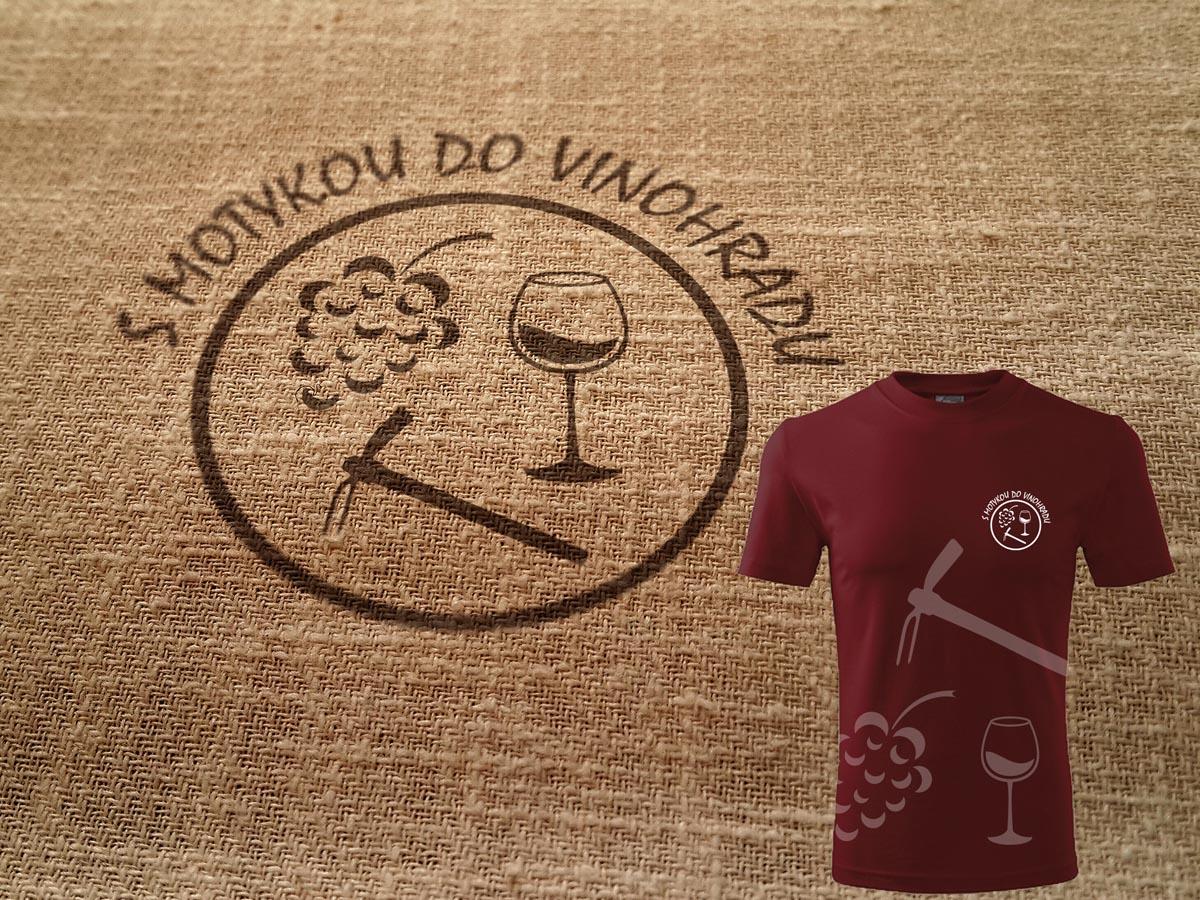 Grafický design loga S motykou do vinohradu + návrh trička