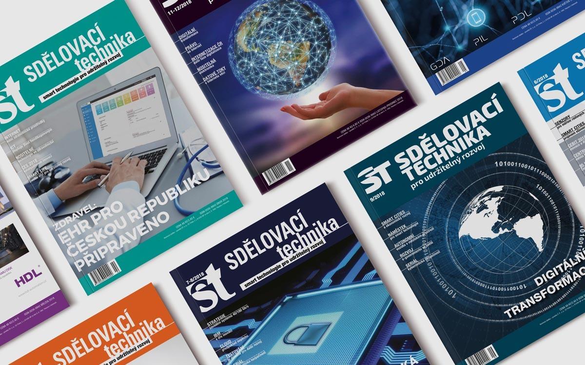 Obálky časopisů Sdělovací technika - sazba časopisů
