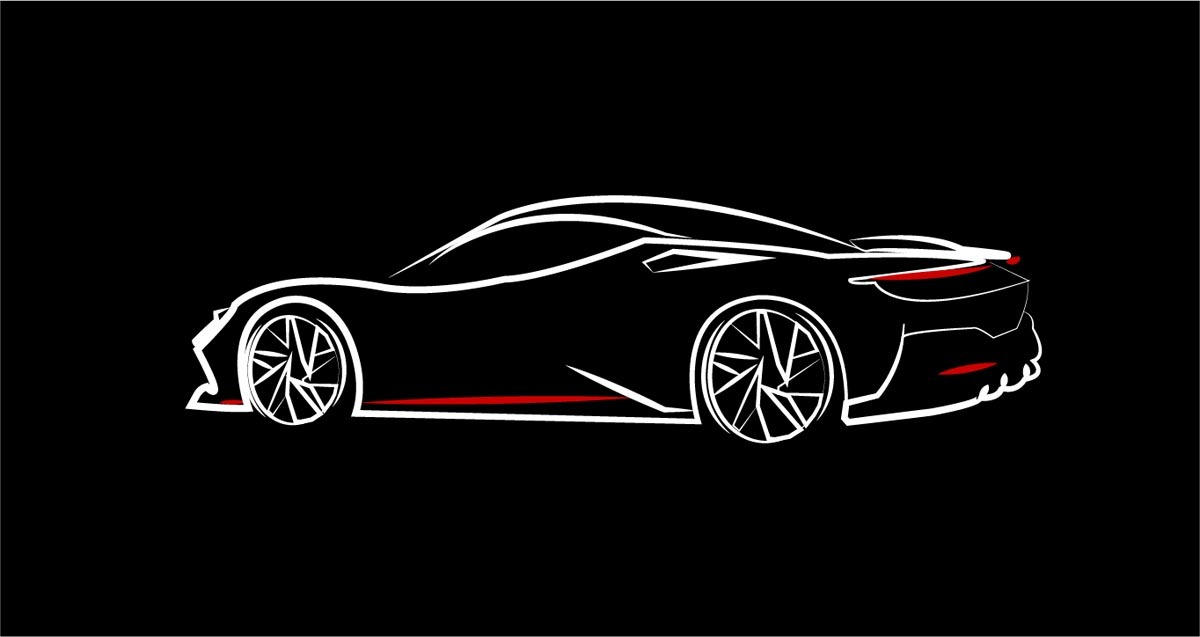 Pininfarina Battista auto - lineart silueta sportovního luxusního auta