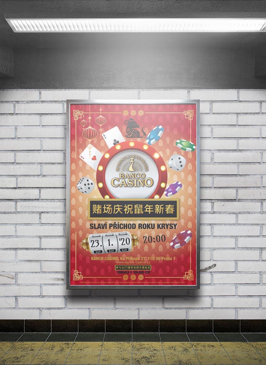 Grafický design plakátu Banco Casino - čínský Nový rok