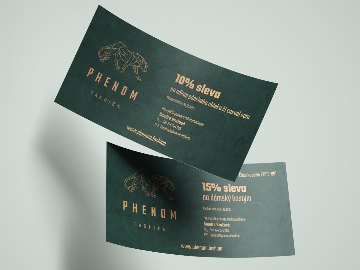 Návrh designu voucheru, slevové poukázky pro Phenom Fashion