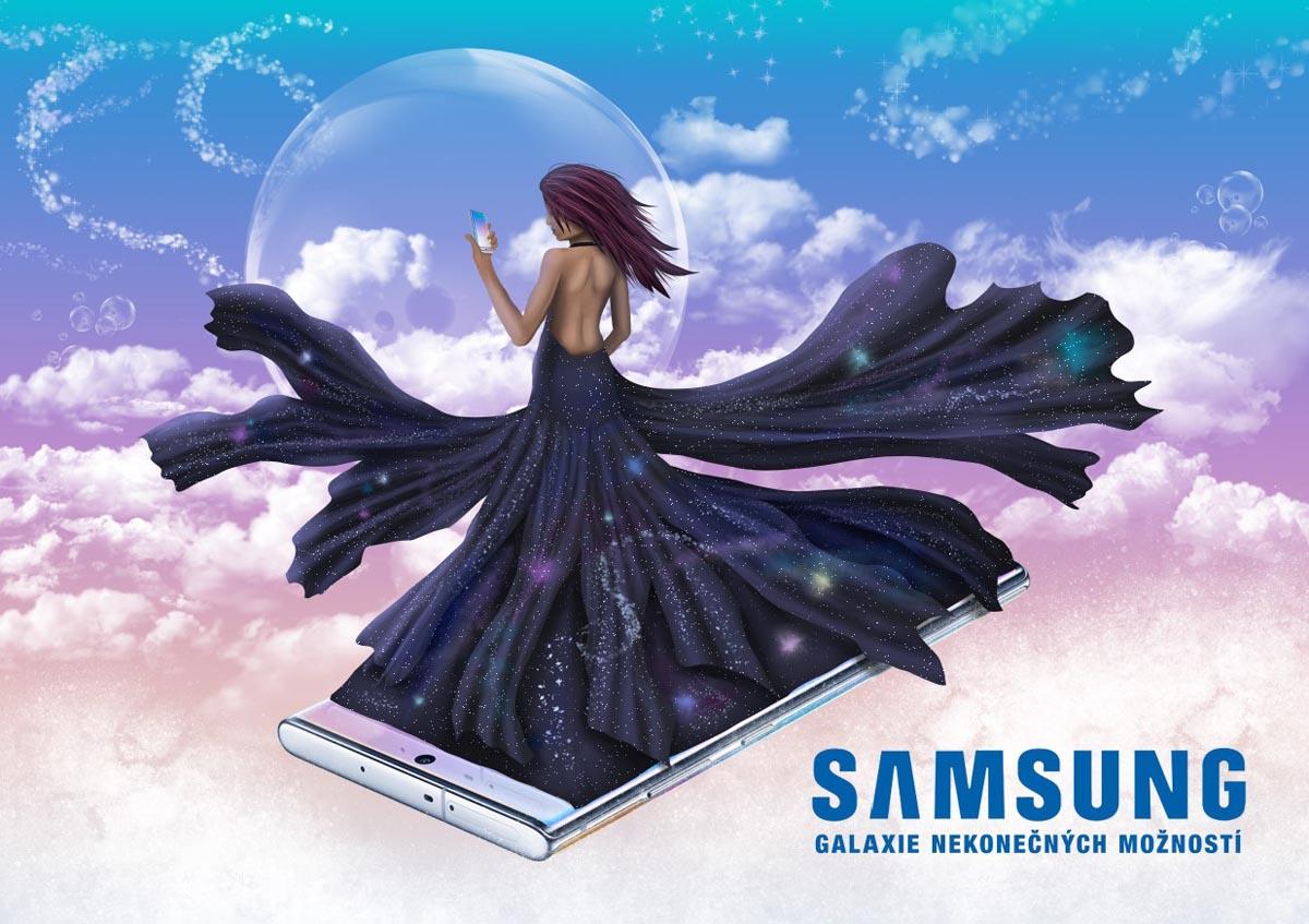 Digitální ilustrace Samsung - Galaxie nekonečných možností