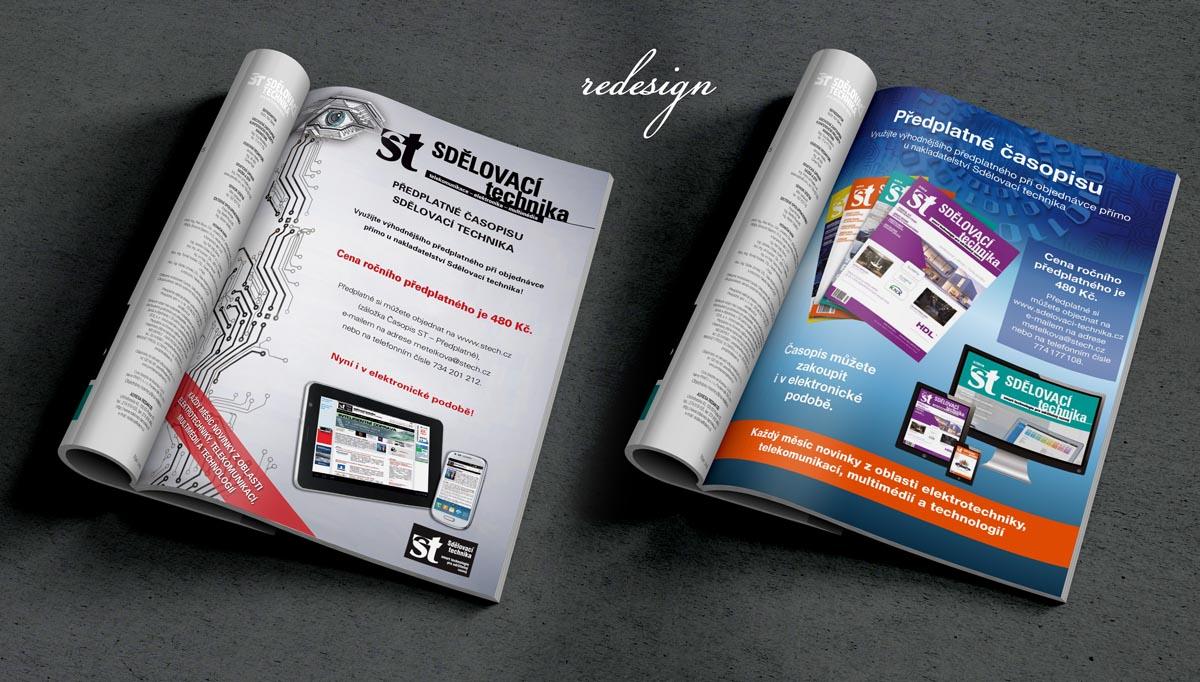 Redesign stránky s předplatným - sazba časopisu Sdělovací technika