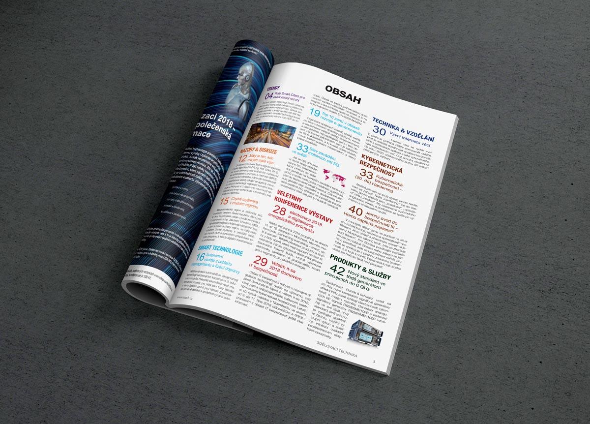 Sazba časopisu Sdělovací technika - obsah