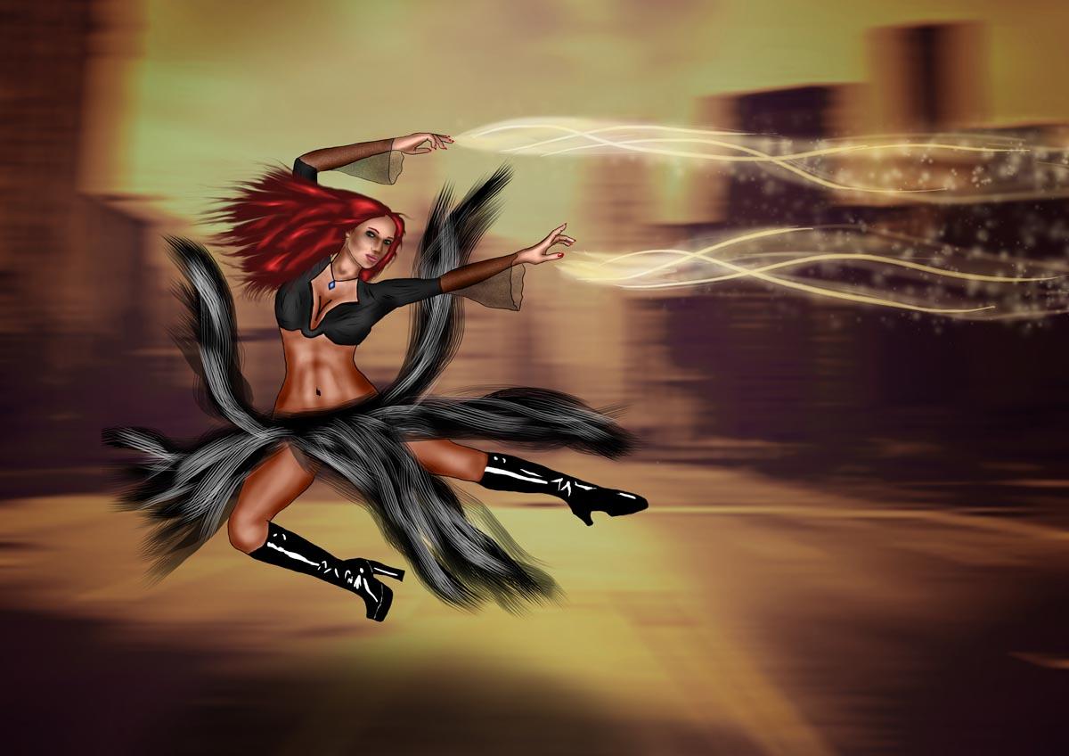 Digitální ilustrace - čarodějka bojovnice