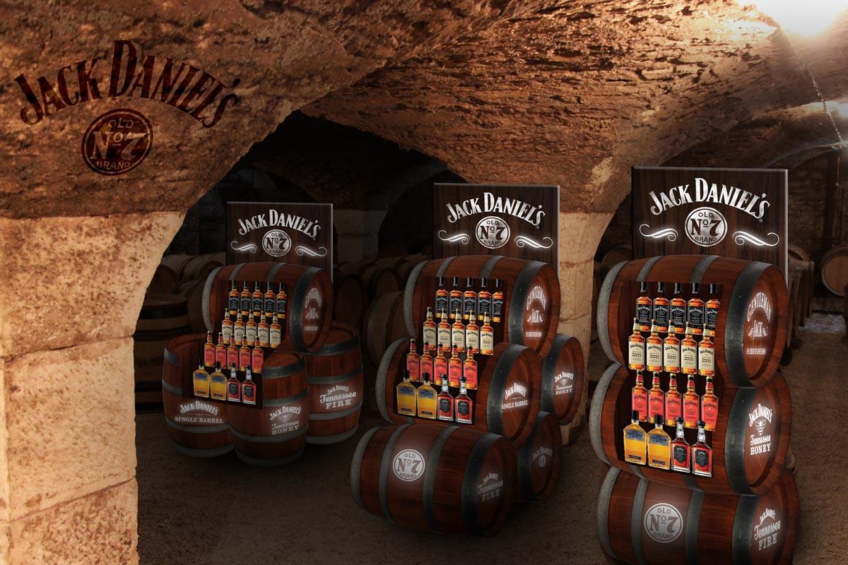 Vizualizace - Jack Daniels stojanů ve tvaru sudů